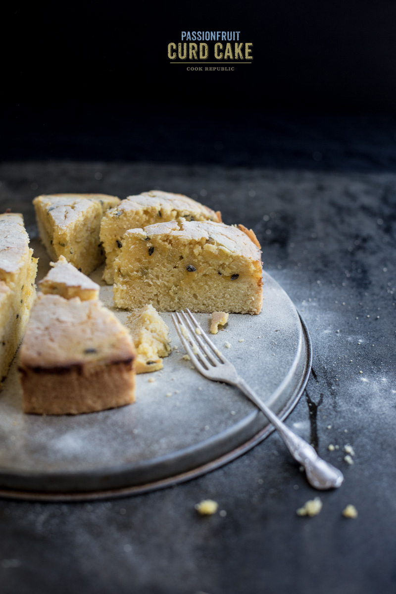 simple butter cake made with homemade passionfruit curd has a lovely ...
