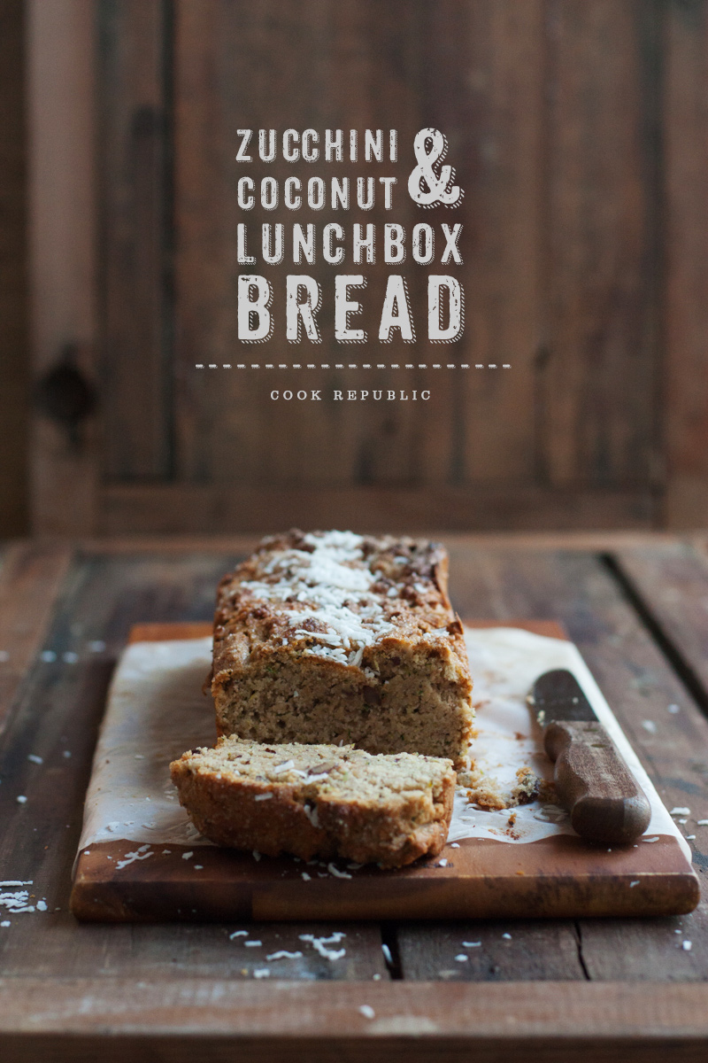 bread baked with grated zucchini, pecan nuts, coconut flour, coconut ...